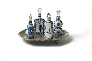 """Vipoo Srivilasa, """"Four Elements Containers"""" 2012, ceramic, silver, glass, 8 x 12 x 10""""."""