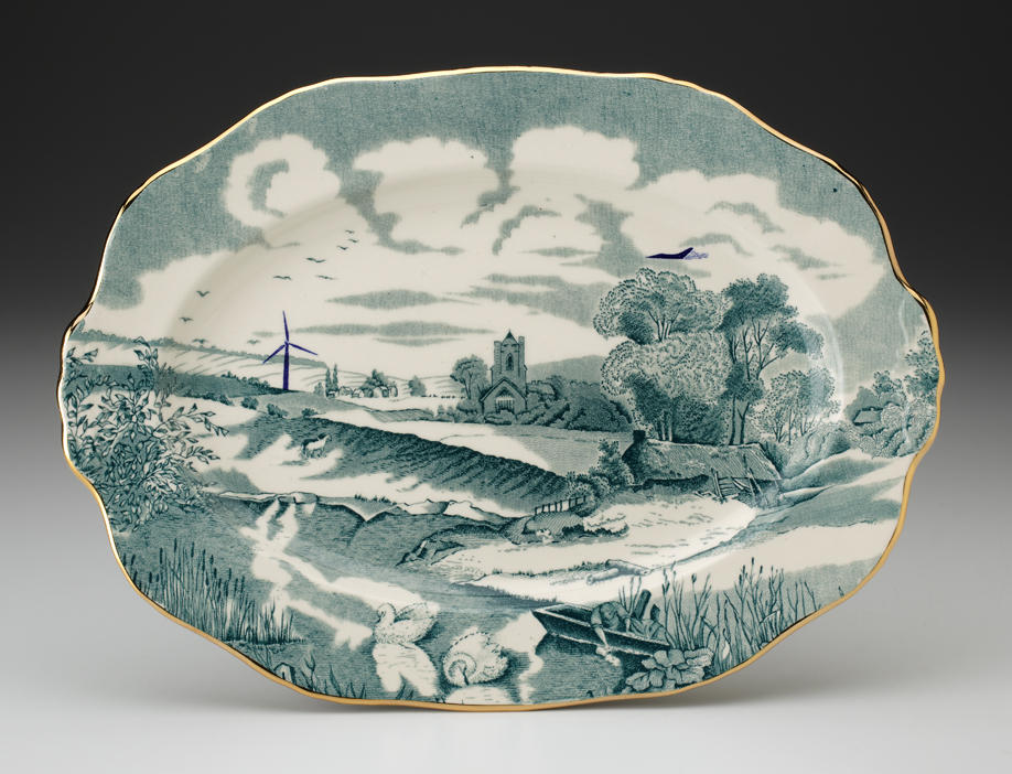 """Paul Scott, """"Cumbrian Blue(s) - Pastoral"""" 2013, in-glaze decal, gold luster on partially erased Alfred Meakin earthenware platter (c.1935), 11"""" diameter."""