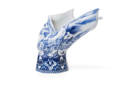 "Front Design, ""Blow Away Vase"" 2008, Royal Delft porcelain, 11 x 12 x 9""."