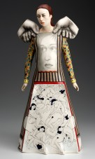 "Sergei Isupov, ""Farewell to the Theater"" 2013, porcelain, slip, glaze, 22.5 x 10 x 7.5""."
