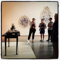 "Emily Zilber discussing Giselle Hicks ""And then it was Still II"" in New Blue and White at the Museum of Fine Art Boston"