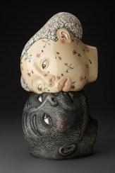 "Sergei Isupov, ""Vernal"" 2016, porcelain, slip, glaze, 17.5 x 9 x 8""."