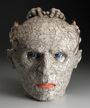"""Sergei Isupov, """"Head On"""" 2015, porcelain, slip, glaze, 13 x 11 x 13""""."""