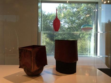 Lino Tagliapietra, Vessel, 1998, blown & cut glass, Gift of Dale & Doug Anderson | June Schwarcz, Vessels, 1995-6, funds donated by Daniel & Jessie Lie Farber MFA Boston