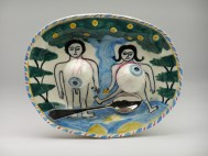 "Stephen Bird, ""Adam and Eve with Eyes and Spoon"" 2013, earthenware, pigment, glaze, 7.25 x 9 x 2"". Courtesy Garis and Hahn Gallery."