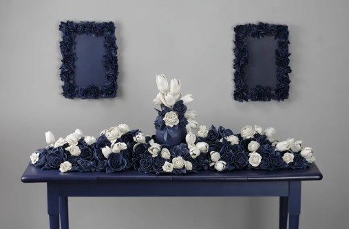 """Giselle Hicks, """"And Then It Was Still, II"""" 2012, porcelain, glaze, wood, 50 x 60 x 24""""."""