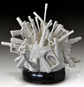 "Linda Lighton, ""Cause and Effect"" 2012, whiteware, glaze, 23 x 25 x 22.5""."