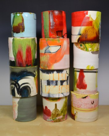 "Lauren Mabry, ""Composition of Enclosed Cylinders"" 2013, red earthenware, slips, glaze, 20 x l7 x 6""."