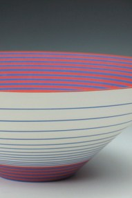 "Sara Moorhouse, ""Large Pulse"" 2013, earthenware, underglaze, glaze, 18 x 7""."