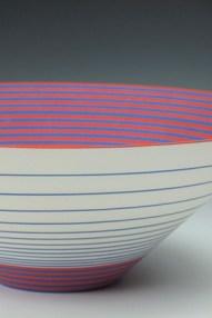 "Sara Moorhouse, ""Large Pulse"" 2013, earthenware, underglaze, glaze, 18 x 7""."