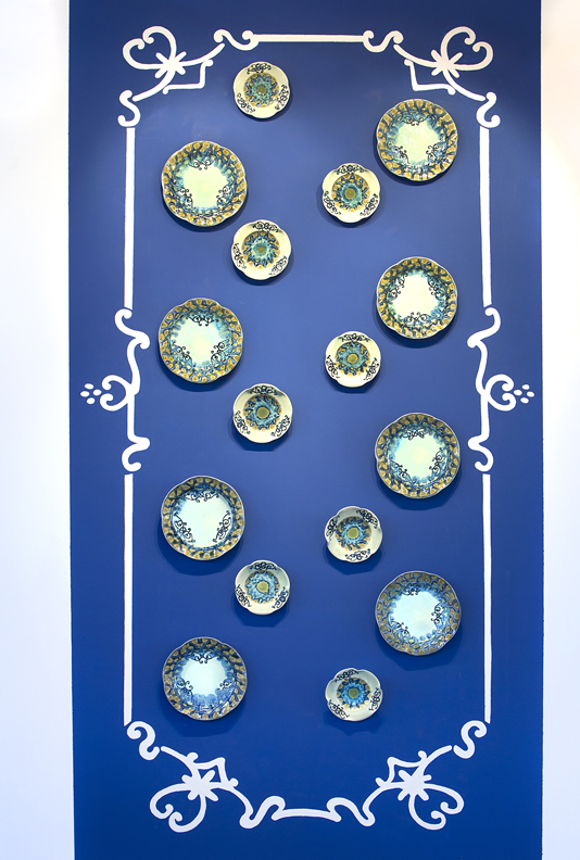 "Stephanie Rozene, ""The Politics of Porcelain"" 2011, porcelain, glaze, 48 x 156""."