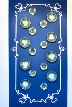 "Stephanie Rozene, ""The Politics of Porcelain"" 2011, porcelain, glaze, 48 x 156""."