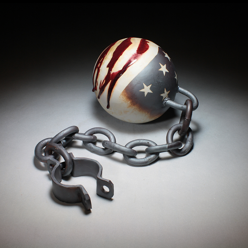 "Michael Schwegmann, ""Ball and Chain"" 2013, porcelain, glaze, 9 x 9 x 38""."