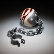 """Michael Schwegmann, """"Ball and Chain"""" 2013, porcelain, glaze, 9 x 9 x 38""""."""