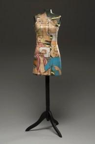 "Shalene Valenzuela, ""Dressform"" 2012, porcelain, underglaze, pins, wooden stand, 56 x 14 x 8""."