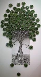 "Jason Walker, ""Infinite Growth"" 2013, porcelain, china paint and glaze, 84 x 36 x 3""."