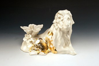 "Future Retrieval: Guy Michael Davis and Katie Parker, ""Grand Theft Lion"" 2013, porcelain, china paint, grammertry, rapid prototying, 11 x 8 x 7""."