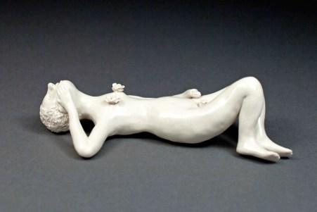 "Coille Hooven, ""Rosebud"" 2003, porcelain, 2.25 x 8 x 5""."
