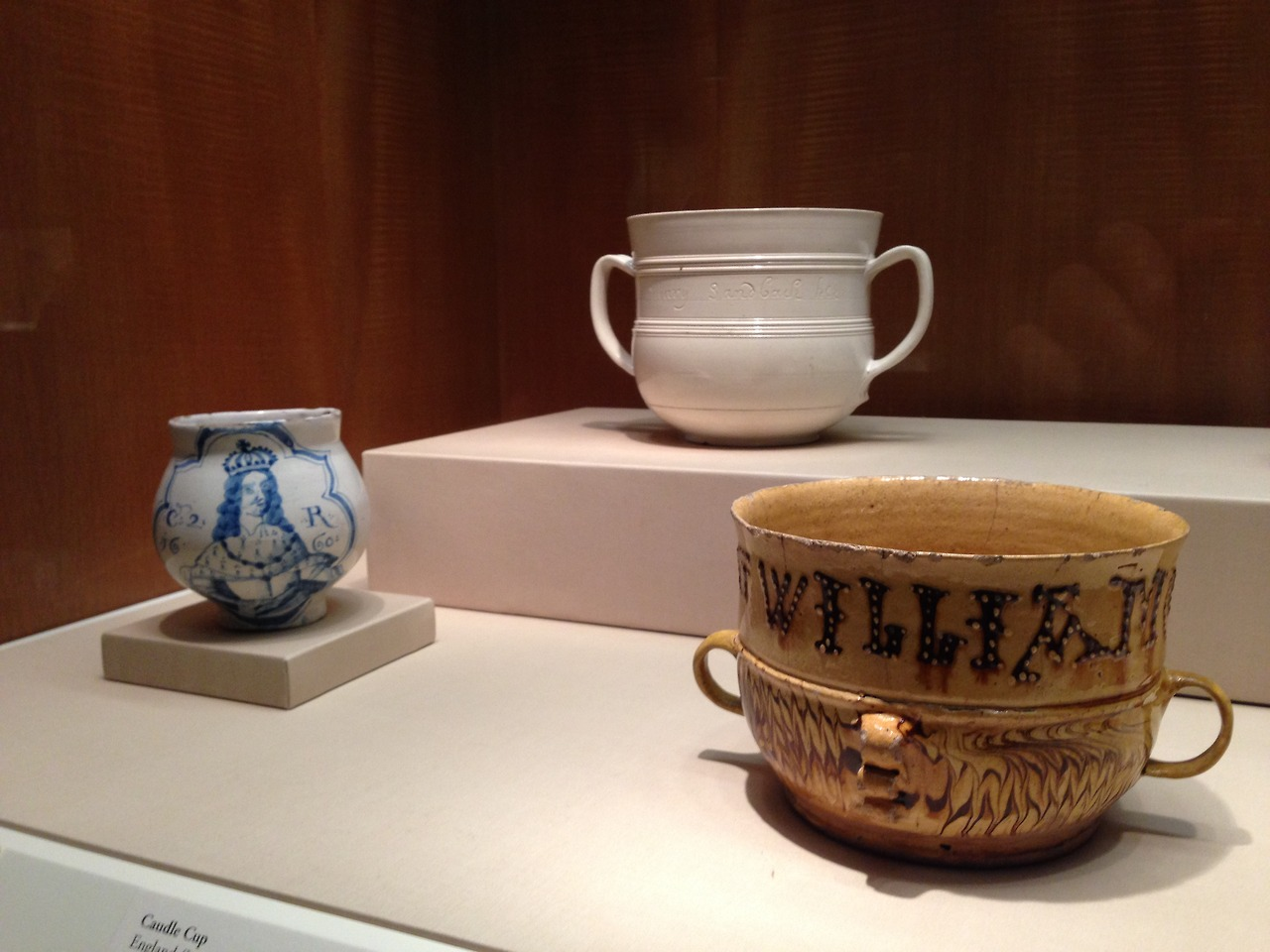 "Possets and Caudle Cups in the Burnap Collection at Nelson Atkins Museum, the Caudle cup rear was the subject of Clare Twomey's ""Forever"" project. Her film ""Is it Madness..."" is in CT40."