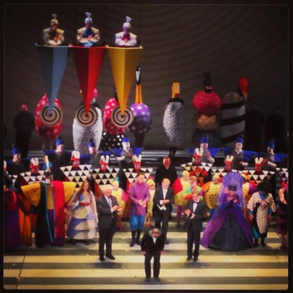 Jun Kaneko taking a bow at the Magic Flute opera - designer of sets, costumes and stage design. In Kansas City, MO for the opening of Ceramic Top 40 at Red Star studios at Belger Crane Yards