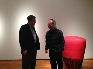 Ted Rowland with Jun Kaneko at his solo show at Sherry Leedy Gallery. In Kansas City, MO for the opening of Ceramic Top 40 at Red Star studios at Belger Crane Yards