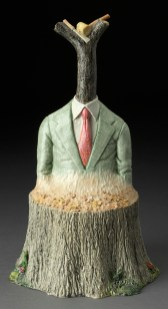 """Jack Earl, """"Another Bush, Another Stick of Wood"""" 1983, white earthenware, oil paint, 24.5 x 12 x 14.5""""."""