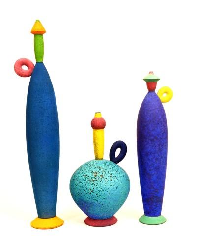 """Michael Sherrill, """"Bottle Set"""" 27 x 6 x 5"""", 15.5 x 9.5 x 9.5"""", 20 x 4.5 x 4""""."""