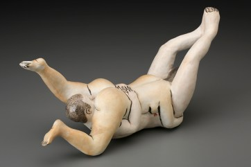 "Akio Takamori, ""Hanging Couple,"" 2002, porcelain, 7 x 13.25 x 5""."