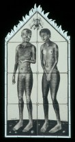 "Sergei Isupov, ""Tile House (Man Woman)"" 2003, vitreous china, 86 x 43""."