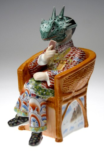 "Future Retrieval: Katie Parker & Guy Michael, ""Hold 'Em"" 2012, porcelain underglaze transfer, china paint, 12 x 8 x 8.5""."