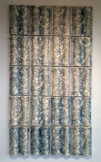 "Giselle Hicks, ""Floral Wave Tiles"" 2012, vitreous china, 80 x 45 x 1.5""."