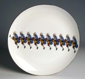 """Howard Kottler, """"Colonial Rockettes"""" c. 1967, porcelain, decals, lustre, 10""""."""