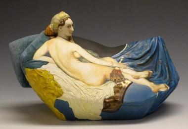 "Kadri Pärnamets, ""La Grande Odalisque Teapot"" 2014, porcelain, glaze, stain, 6.5 x 11 x 5""."