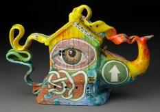 "Michael Lucero, ""Teapot #2"" 2009, glaze, ceramic, 7 x 12.25""."