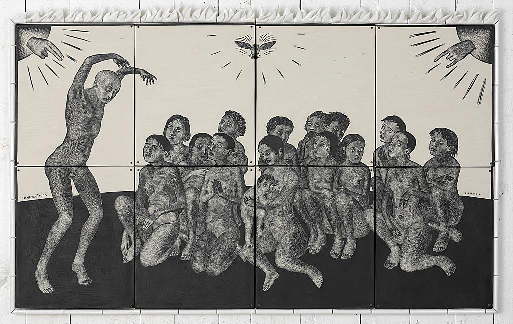 """Sergei Isupov, """"Fourteen Pleasures"""" 2003, vitreous china, 43 x 74 x 3""""."""