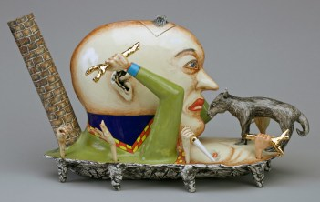 "Sergei Isupov, ""Attitude, Angle of Approach"" 1994-5, porcelain, glaze, stain, 9.5 x 7 x 17.25""."