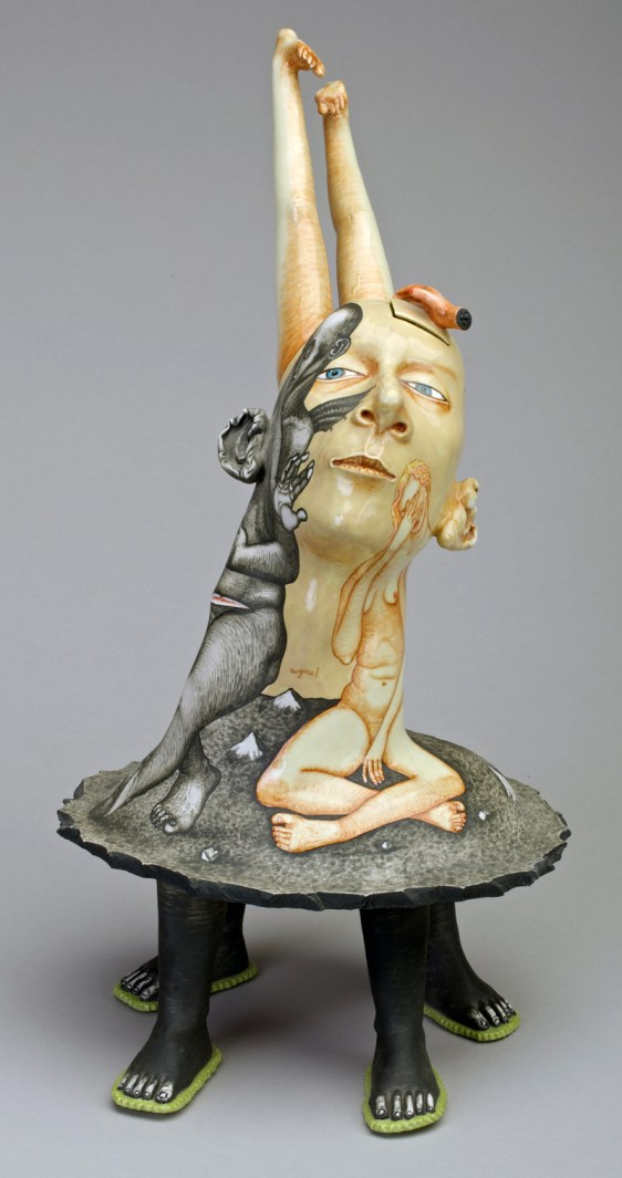 "Sergei Isupov, ""Never the Same"" 1997, porcelain, glaze, stain, 16 x 8.5 x 11.5"". Collection of Racine Art Museum, Racine, WI."