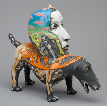 "Sergei Isupov, ""Redemption Day"" 1998, porcelain, glaze, stain, 13 x 15 x 6.5"". Collection of Racine Art Museum, Racine, WI."