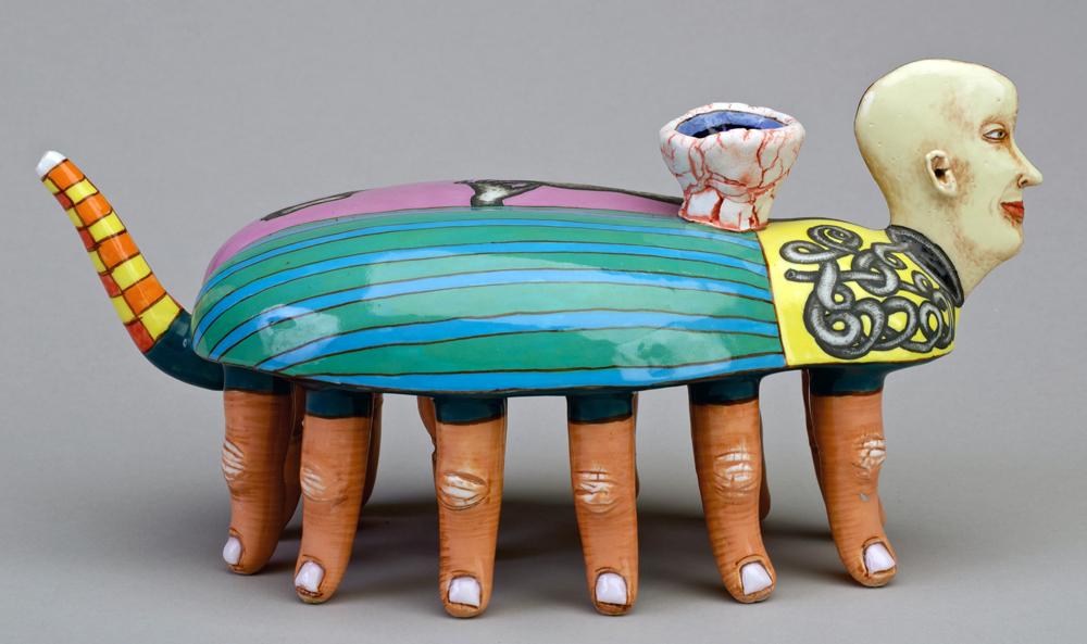 "Sergei Isupov, ""The Search"" 1996, porcelain, glaze, slip, 5.5 x 9 x 4"". Racine Art Museum, Racine, WI."