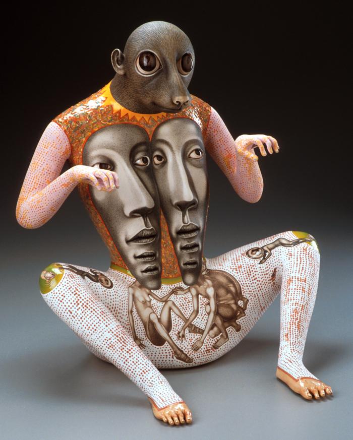 "Sergei Isupov, ""Thin Line"" 2002, porcelain, 17.5 x 15.5 x 15""."