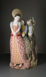 "Sergei Isupov, ""Promenade"" 2014, porcelain, slip, glaze, 55 x 27 x 15""."