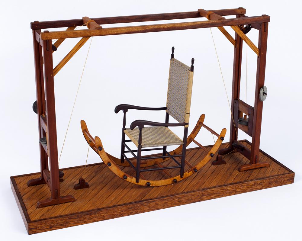 "Roy Superior, ""Shaker Nautilus Exercise Machine"" 1984, wood, metal, string, 14.5 x 8.5 x 23"". (Allan Stone Collection)"