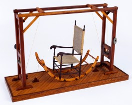 "Roy Superior, ""Shaker Nautilus Exercise Machine"" 1984, wood, metal, string, 14.5 x 8.5 x 23"". (Allan Stone Collection)"