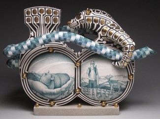 "Jason Walker, ""A Hand in Two Worlds"" 2009, porcelain, underglaze, concrete, 13.5 x 19 x 7""."