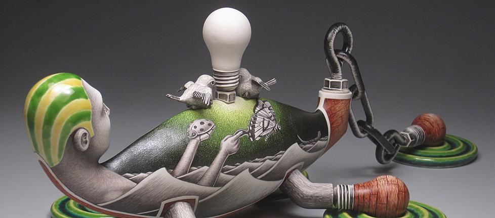 "Jason Walker, ""Capsized"" detail, 2011, porcelain, china paint, overglaze enamel, 8.5 x 25 x 12""."