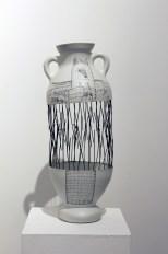 "Adam Shiverdecker, ""Amphora: Axis Mundi"" 2014, porcelain, nichrome, graphite, pencil, acrylic, 17.5 x 6 x 6""."