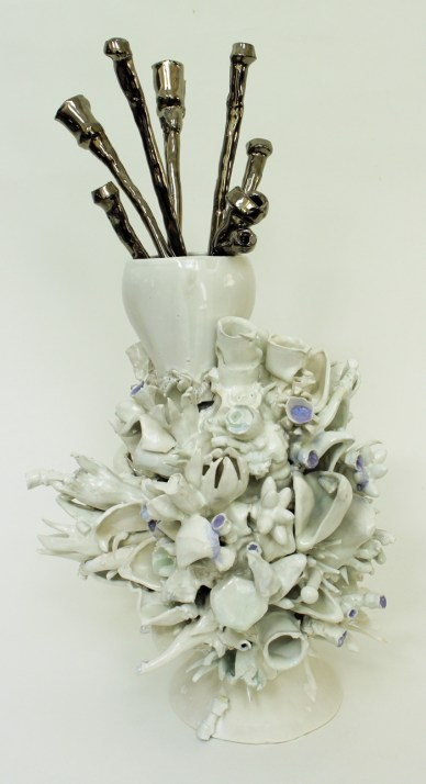 "Susan Beiner, ""Re-Simulation Vase"" 2014, porcelain, concrete, 25 x 11 x 11""."