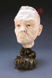 "Sean Erwin, ""Whoopee"" 2012, polished porcelain, bronze, resin, glaze, oil paint, gold leaf, flocking fibers, 9 x 7 x 14""."