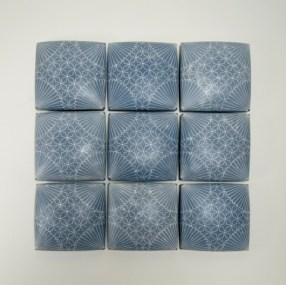 "Giselle Hicks, ""Wall Quilt with Floret and Stars"" 2014, porcelain, 30 x 30 x 2.5""."
