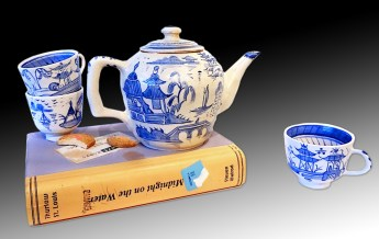 "Richard Shaw, ""Blue Willow Tea Set"" 2013, porcelain, glaze, 10 x 8 x 8""."